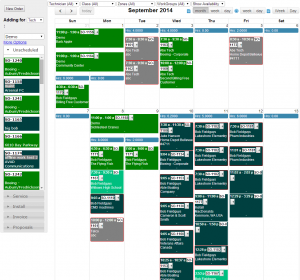 A drag-and-drop technician calendar that you can filter by day, week, month, technician, zone, work group, etc.