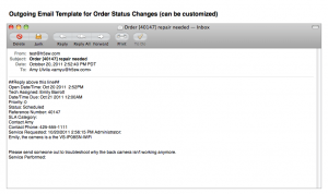 SME Outgoing Email Template for Order Status Change