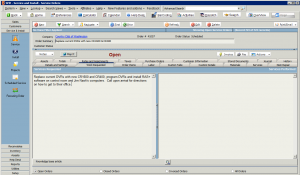 High 5 Software SME Service Section Work Requested Tab Sample Screenshot